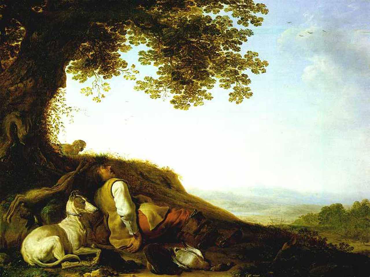 Hunter Sleeping on a Hillside
